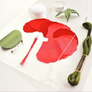 fabric poppy corsage kit