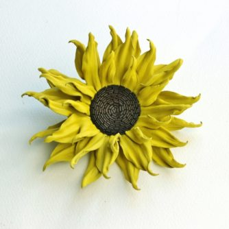 leather sunflower brooch