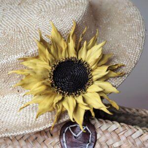 leather sunflower brooch
