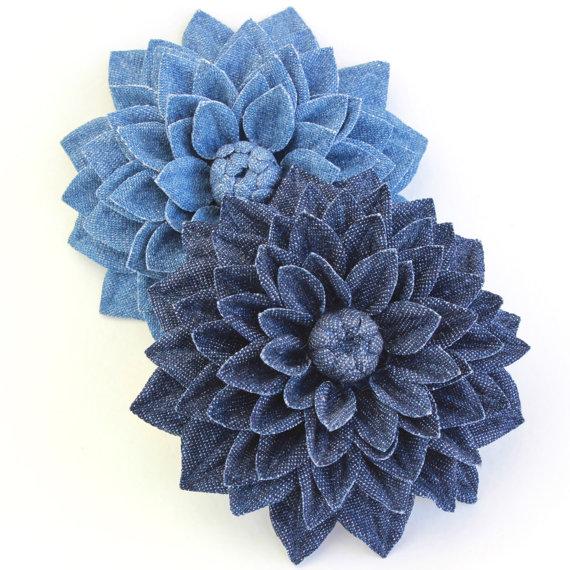 denim flower brooch