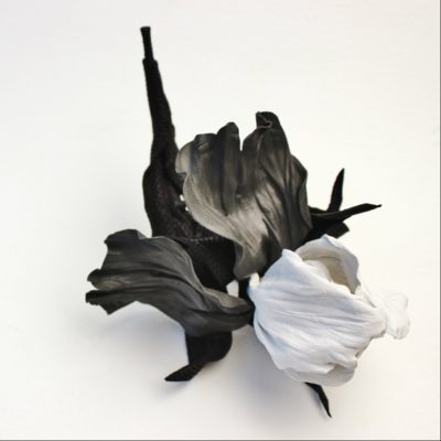 leather iris corsage