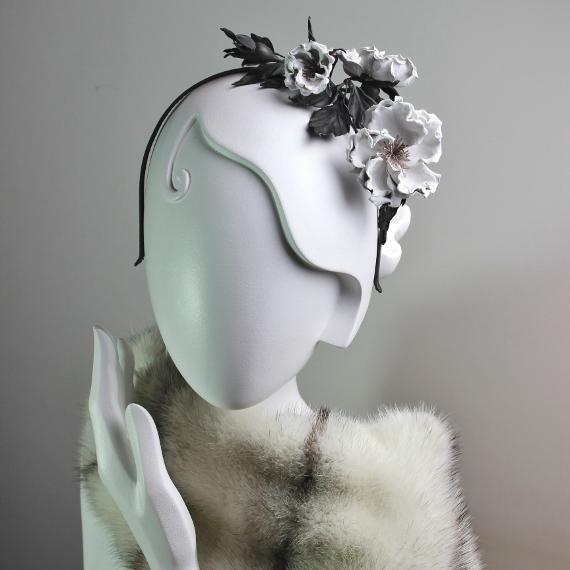 rose leather headpiece
