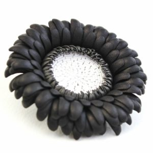 black leather gerbera