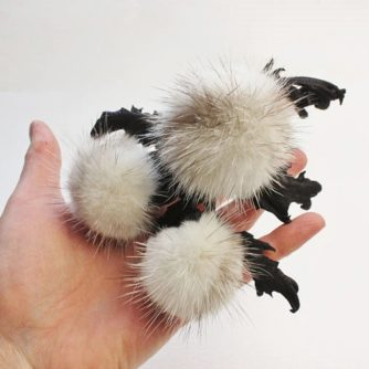 fur leather thistle corsage