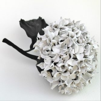 leather hydrangea corsage