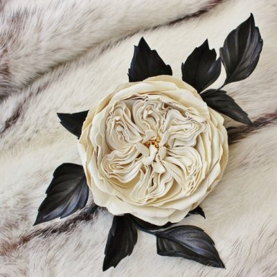 english rose leather corsage