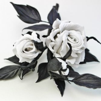 leather rosebud corsage
