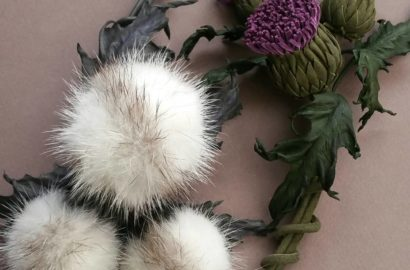 Thistle jewellery made of leather and fur