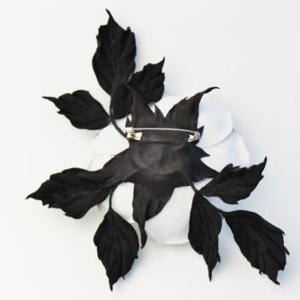 white leather rose brooch