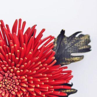 RM red leather chrysanthemum detail ph (600×600)