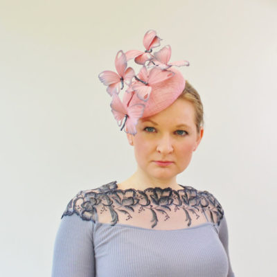 silk butterfly cocktail hat