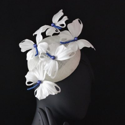 white silk butterfly hat