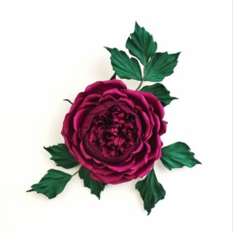 Fuchsia leather rose corsage 1 (500×500)
