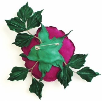 Fuchsia leather rose corsage back (500×498)