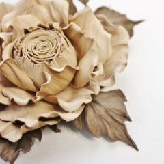 Beige Leather Rose Brooch
