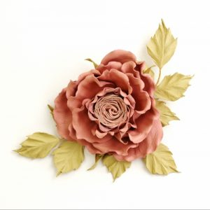 pink leather rose brooch