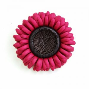 cranberry gerbera brooch