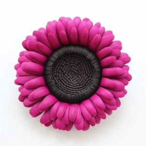 leather gerbera brooch