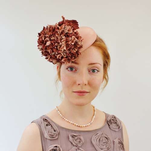 Leather cocktail hat with hydrangea flowers - PresentPerfect ... 9e6a0210ac3
