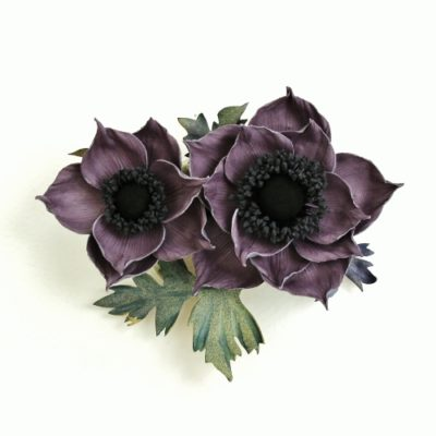 lilac leather anemone brooch