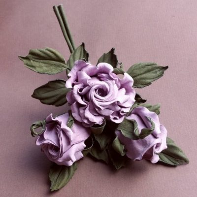 leather lilac rose spray corsage