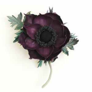 purple leather anemone corsage