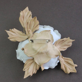 white and beige leather rose back