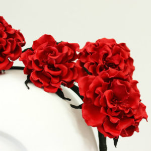 red leather rose crown headband