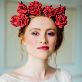 Red Leather Rose Crown