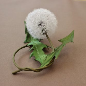 silk dandelion clock brooch