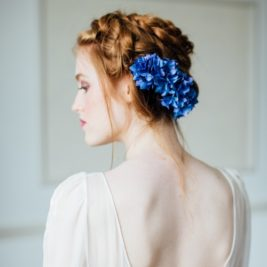 Silk Blue Hydrangea Hair Comb