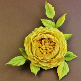 Cotton English Rose Brooch