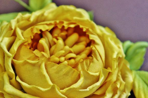 Cotton anniversary English rose brooch