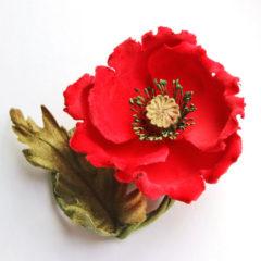 Red Velvet Poppy Brooch