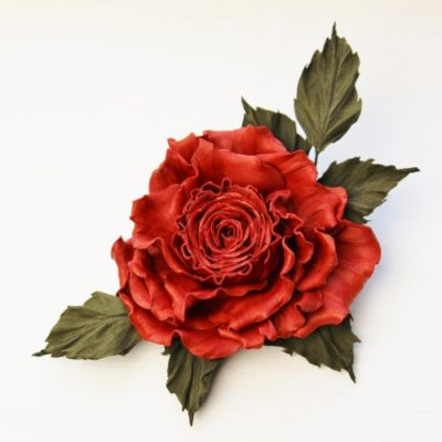 leather rose brooch