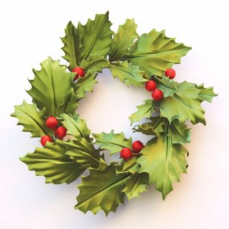 Christmas brooch silk holly