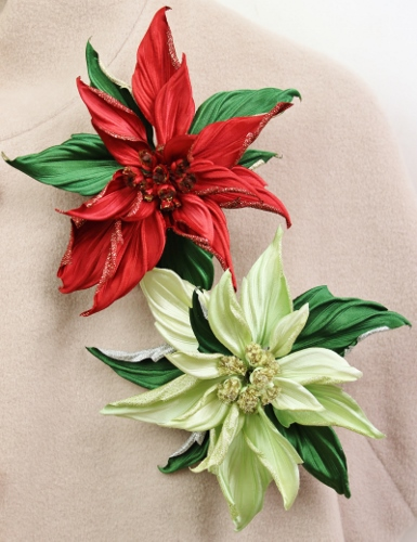 red poinsettia brooch