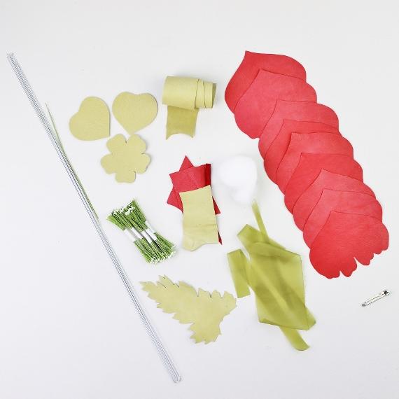 leather poppy kit BROOCH