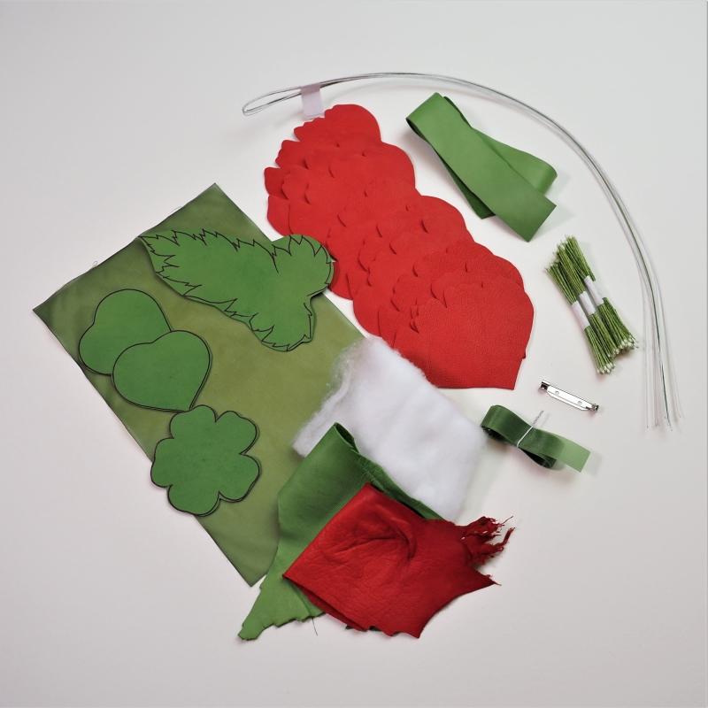leather poppy brooch diy kit