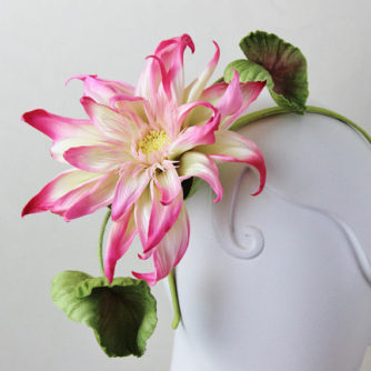 headpiece with silk lotus flower 2