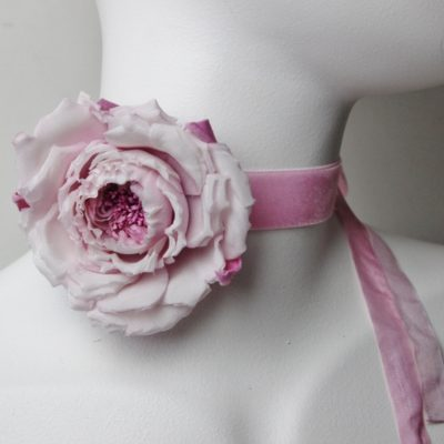 silk rose choker necklace