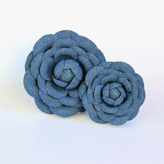 denim camellia brooches