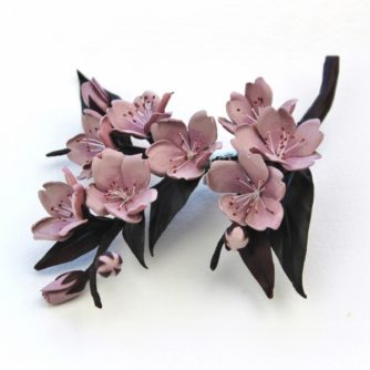 leather cherry blossom corsage
