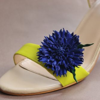 leather cornflower shoe clips
