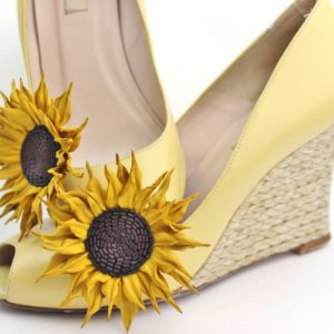 Leather sunflower shoe clips