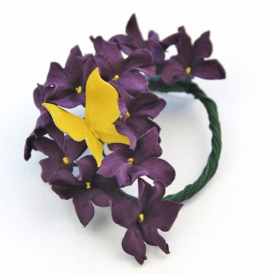 leather violets brooch