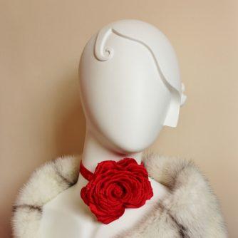 large silk rose choker necklace