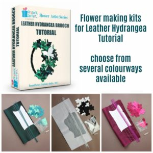 DIY leather Kit for making a Leather Hydrangea Brooch