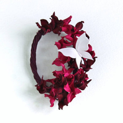 leather hydrangea brooch