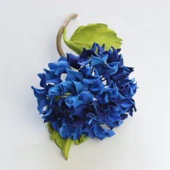 blue leather hydrangea brooch